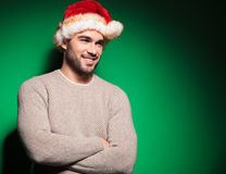 Santa man standing relaxed and looking away Royalty Free Stock Images