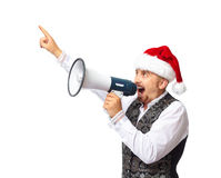 Santa man talking in megaphone. Stock Photography