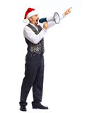 Santa man talking in megaphone. Santa man talking in megaphone isolated on white background Stock Photo