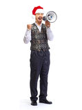 Santa man talking in megaphone. Stock Images