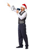 Santa man talking in megaphone. Santa man talking in megaphone isolated on white background Royalty Free Stock Photo