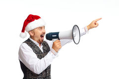 Santa man talking in megaphone. Santa man talking in megaphone isolated on white background Royalty Free Stock Image