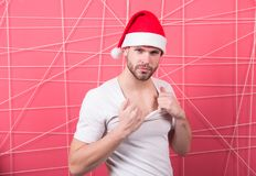 Santa man touch white tshirt Stock Images