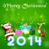 Santa and many magic gifts in forest trees. Christmas deer, 2014, green background royalty free illustration