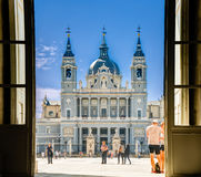 Santa María la Real de La Almudena, Spain. Madrid, Spain -September 23, 2016: View from Royal Palace entry door to the Almudena Cathedral, Spain Royalty Free Stock Images