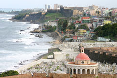 Santa María Magdalena de Pazzis Cemetery. A view of this 1863 cemetery from San Felipe del Morro Castle.  Also this is a view of the Old San Juan North Royalty Free Stock Image