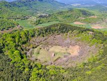 The Santa Margarida Volcano is an extinct volcano in the comarca of Garrotxa, Catalonia, Spain. The volcano has a perimeter of 2 km and a height of 682 meters royalty free stock photos