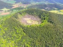 The Santa Margarida Volcano is an extinct volcano in the comarca of Garrotxa, Catalonia, Spain. The volcano has a perimeter of 2 km and a height of 682 meters royalty free stock photography