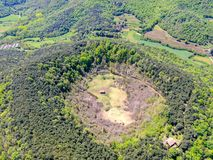The Santa Margarida Volcano is an extinct volcano in the comarca of Garrotxa, Catalonia, Spain. The volcano has a perimeter of 2 km and a height of 682 meters royalty free stock images