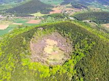 The Santa Margarida Volcano is an extinct volcano in the comarca of Garrotxa, Catalonia, Spain. The volcano has a perimeter of 2 km and a height of 682 meters stock images