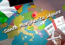 Santa Margherita Ligure city travel and tourism destination concept. Italy flag and Santa Margherita Ligure city on map. Italy tr stock illustration