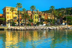 Santa Margherita Ligure cityscape with colorful buildings, Liguria, Italy. Stunning cityscape with palm trees and colorful traditional buildings, Santa stock image