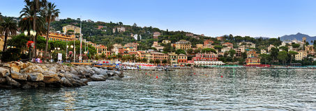 SANTA MARGHERITA LIGURE, ITALY - August 27, 2016: Panoramic view of   , evening promenade Stock Image