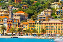 Architecture of Santa Margherita Ligure, Italy. SANTA MARGHERITA LIGURE, ITALY - MAY 4, 2015: Coast of Ligurian Sea in Santa Margherita Ligure, which is popular Royalty Free Stock Image