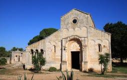 Santa Maria Abbey i Cerrate nära Lecce, Italien Fotografering för Bildbyråer