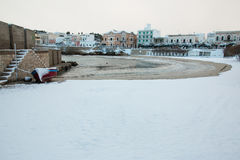 Santa Maria al Bagno beach after a exceptional snowfall Royalty Free Stock Images
