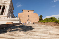 Santa Maria in Aracoeli. Basilica with the monumental staircase Stock Photography