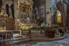 Santa Maria in Aracoeli. Interior of Basilica of Saint Mary of the altar of Heaven, Rome, Italy Royalty Free Stock Images