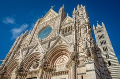 Santa Maria Assunta Cathedral in Siena, Italy. Made between 1215 and 1263, it is a major tourism attraction in Siena stock image