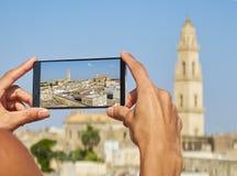 Santa Maria Assunta för Cattedrale metropolitanadi domkyrka av Lecce Puglia Italien Arkivfoto