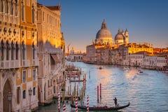 The Santa Maria Basilica, Venice, Italy flowing in the setting sun. Taken from the Academia Bridge stock photo