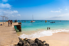 Santa Maria beach pontoon in Sal Island Cape Verde - Cabo Verde Stock Photo