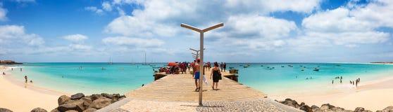 Santa Maria beach pontoon in Sal Island Cape Verde - Cabo Verde Royalty Free Stock Image