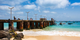 Santa Maria beach pontoon in Sal Island Cape Verde - Cabo Verde Stock Photos