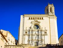Girona in Spain. Santa Maria Cathedral church in old town of Girona in Spain, toned royalty free stock photo