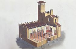 Santa Maria Cathedral von Badajoz Hypothetische Beschreibung heute stockbild