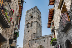 Santa Maria Church at Ainsa at Aragon, Spain Stock Image