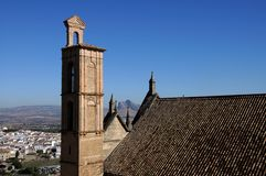 Santa Maria church bell tower, Antequera, Spain. Royalty Free Stock Photos