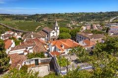 Santa Maria Church Castle Walls Countrside Obidos Portogallo fotografia stock libera da diritti