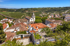 Santa Maria Church Castle Walls Countrside Obidos Portugal Royalty Free Stock Photography