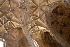 Santa Maria church ceiling. Ceiling of Santa maria church inside Hieronymites Monastery (Mosteiro dos Jerónimos) in Belém, Lisbon, Portugal. UNESCO World Royalty Free Stock Image