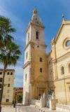 Santa Maria church and palm trees in the center of Xativa Stock Image