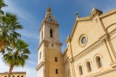 Santa Maria church and palm trees in the center of Xativa Royalty Free Stock Photos