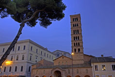 Santa Maria in Cosmedin at dusk, Rome Royalty Free Stock Image