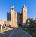 Santa Maria da Feira, Portugal - Castelo da Feira Castle. Santa Maria da Feira, Portugal - October 12, 2017: Entrance, Bailey and Keep of Castelo da Feira Castle stock photos