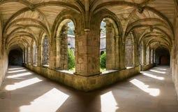 Santa Maria de Armenteira Monastery in Galicia. Cloister of the Cistercian monastery of Santa Maria de Armenteira in Pontevedra, Spain & x28;ca. 1.162& x29 Royalty Free Stock Images