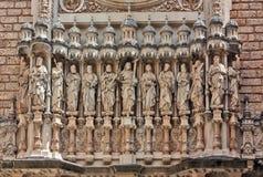 Abbey Santa Maria de Montserrat, Catalonia, Spanien. Arkivbilder