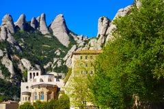 Santa Maria de Montserrat Abbey en Monistrol de Montserrat, Cataluña, España Imágenes de archivo libres de regalías
