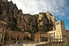 Santa Maria de Montserrat Abbey i Spanien Fotografering för Bildbyråer