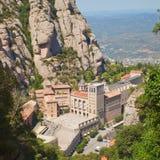 Santa Maria de Montserrat Abbey. In Monistrol de Montserrat, Catalonia, Spain. Famous for the Virgin of Montserrat. Benedictine monastery, the spiritual symbol Stock Images