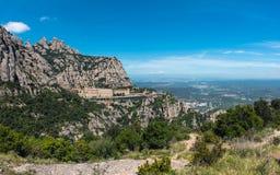 Santa Maria de Montserrat abbotskloster i Montserrat berg nära Barcelona, Spanien Fotografering för Bildbyråer