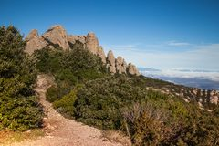 Santa Maria de Montserrat ist eine Benediktinerabtei, Landschaft Lizenzfreies Stockfoto