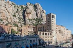 Santa Maria de Montserrat monastery. Spain. Montserrat Monastery is a beautiful Benedictine Abbey high up in the mountains near Barcelona, Catalonia, Spain Stock Photo
