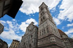 Santa Maria dei Fiori, the Dome with the Giotto`s Bell Tower in Florence, Tuscany, Italy stock photo