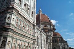 Santa Maria del Fiore. View of the Florence Cathedral with its famous dome added by Filippo Brunelleschi stock image
