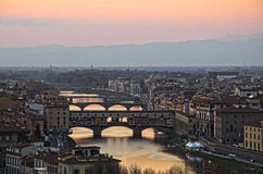 Santa Maria del Fiore and Arno River of Florence Stock Photography